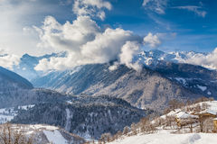 Majestic clouds over the mountain valley of. The Caucasus Stock Images