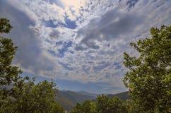 Majestic cloudy mountains landscape. Dramatic sky clouds. Azerbaijan, Big Caucasus mountains. Ganja. Majestic cloudy mountains landscape. Dramatic sky clouds Stock Photo