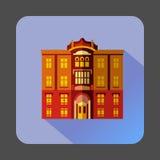 Majestic colorful building icon, flat style. Majestic colorful building icon in flat style on a lilac background Stock Image
