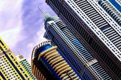 DUBAI, UAE - APR 10, 2013: Detail of world tallest residential buildings. Dubai marina, United Arab Emirates. Majestic colorful dubai marina skyscrapers. Detail royalty free stock photos