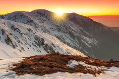 Majestic colorful sunset and landscape in the mountains,Fagaras,Carpathians,Romania Royalty Free Stock Photo
