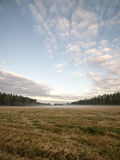 Majestic country landscape under morning sky with clouds. Royalty Free Stock Photos