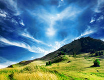 Majestic Countryside Landscape.Dramatic Sky and Hill Royalty Free Stock Photos