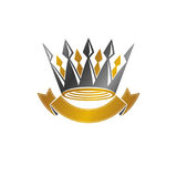 Majestic Crown emblem. Heraldic Coat of Arms decorative logo iso. Lated vector illustration. Retro logotype on white background Stock Image