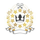 Majestic Crown emblem. Heraldic Coat of Arms decorative logo iso. Lated vector illustration. Ancient logotype on white background Royalty Free Stock Photography