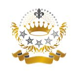 Majestic Crown emblem. Heraldic Coat of Arms decorative logo iso. Lated vector illustration. Ancient logotype on white background Stock Image