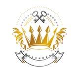 Majestic Crown emblem. Heraldic Coat of Arms decorative logo iso. Lated vector illustration. Ornate logotype on white background Royalty Free Stock Image