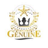 Majestic Crown emblem. Heraldic Coat of Arms decorative logo iso. Lated vector illustration. Retro logotype on white background Stock Images