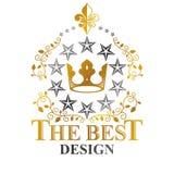 Majestic Crown emblem. Heraldic Coat of Arms decorative logo iso. Lated vector illustration. Antique logotype on white background Stock Image