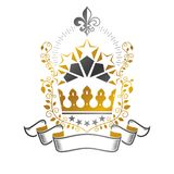 Majestic Crown emblem. Heraldic Coat of Arms decorative logo iso. Lated vector illustration. Ancient logotype on white background Stock Photography