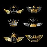 Majestic Crowns and Ancient Stars emblems set. Heraldic Coat of. Arms decorative logos isolated vector illustrations collection Royalty Free Stock Images