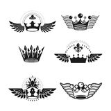 Majestic Crowns and Ancient Stars emblems set. Heraldic Coat of. Arms decorative logos isolated vector illustrations collection Royalty Free Stock Image