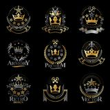 Majestic Crowns emblems set. Heraldic Coat of Arms decorative lo. Gos isolated vector illustrations collection Royalty Free Stock Photo