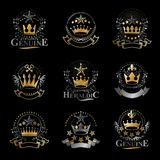 Majestic Crowns emblems set. Heraldic Coat of Arms decorative lo. Gos isolated vector illustrations collection Stock Photography