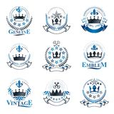 Majestic Crowns emblems set. Heraldic Coat of Arms decorative lo. Gos isolated vector illustrations collection Royalty Free Stock Photography