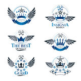 Majestic Crowns emblems set. Heraldic Coat of Arms decorative lo. Gos isolated vector illustrations collection Stock Images