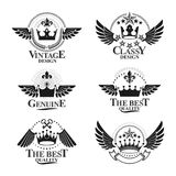 Majestic Crowns emblems set. Heraldic Coat of Arms decorative lo. Gos isolated vector illustrations collection Stock Photos