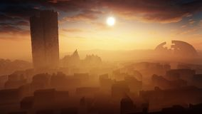 Majestic Desert Landscape With Ancient City Ruins. Concept art of desert landscape with ancient city ruins and deep horizon with soft cloudy sky on sunset royalty free illustration