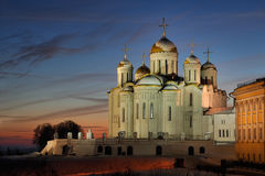 Majestic Dormition Cathedral at Winter Sunset Stock Photo