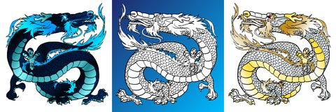 Majestic Dragons colorful and line-art. Set majestic asian dragons colorful black-blue and white and line-art separately on a white background. Vector cartoon Stock Image