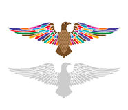 Majestic eagle with colorful  wings spread. Majestic eagle with wings spread top image with different colors bottom gray decal one piece Stock Photography