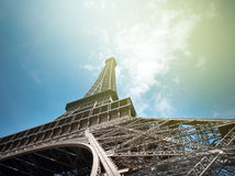 Majestic Eiffel Tower in Paris shot from Champs de Mars Royalty Free Stock Photography