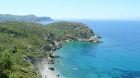majestic empty turquoise beach, high angle view, knidos, datca, turkey stock video