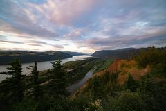Majestic evening landscape at sunset overlooking a Columbia river gorge. royalty free stock photo