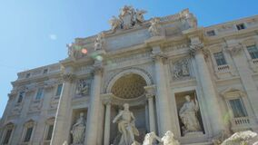 Majestic facade of Poli palace and Trevi fountain, popular landmark in Rome. Stock footage stock footage