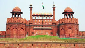 Majestic facade of Red Fort stock footage