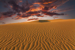 Majestic fiery sunset in the Gobi Desert. Mongolia Royalty Free Stock Photos