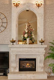 Majestic fire place. Nice solid stone fire place royalty free stock photo