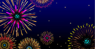 Majestic firework. Vector fireworks background with stars and lights Royalty Free Stock Photo