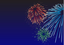Majestic firework congratulatory card. Majestic firework. All elements are separate objects and grouped.No transparency Royalty Free Stock Photo