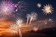 Majestic fireworks. In evening sky Royalty Free Stock Photos