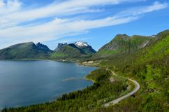 Majestic fjord and mountain landscape panorama photo senja island. Summer Stock Photos