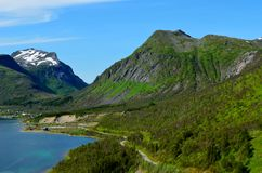 Majestic fjord and mountain landscape panorama photo senja island Stock Images