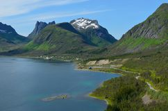 Majestic fjord and mountain landscape panorama photo senja island. Summer Royalty Free Stock Photo