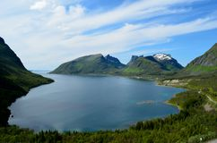 Majestic fjord and mountain landscape panorama photo senja island summer. Overview Stock Photography