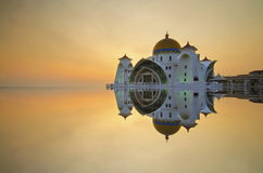 Majestic floating mosque at malacca straits during sunset Royalty Free Stock Image
