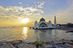 Majestic floating mosque at malacca straits during sunset Royalty Free Stock Photography