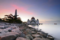 Majestic floating mosque at malacca straits during sunset Royalty Free Stock Images