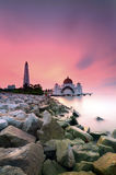 Majestic floating mosque at malacca straits during sunset Royalty Free Stock Photo