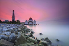 Majestic floating mosque at malacca straits during sunset Royalty Free Stock Photos