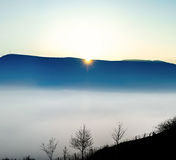 Majestic fog ocean in the mountains on sunset Stock Image