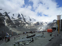 Majestic of Gorner glacier and tourist viewpoint deck Stock Images