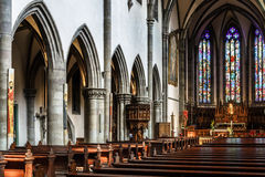 Majestic gothic cathedral interior. Stock Photography