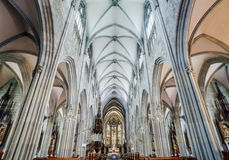 Majestic gothic cathedral interior. Royalty Free Stock Images