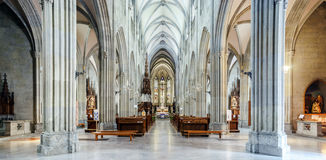 Majestic gothic cathedral interior. Royalty Free Stock Photo