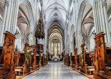 Majestic gothic cathedral interior. Stock Images